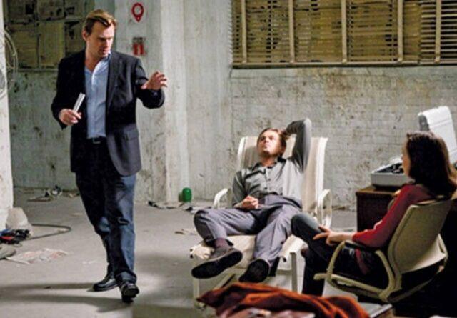 لئوناردو دیکاپریو، الن پیج و کریستوفر نولان در پشت صحنهی فیلم Inception